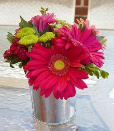 belle maison: Beach Bridal Shower :: Navy & Pink Chic / simple flower arrangement in a mini galvanized bucket