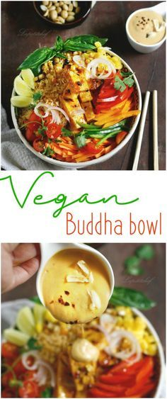 Vegan Buddha Bowl with tofu and Thai sauce is a nutritious, healthy one bowl meal that will make you feel good about yourself. Loaded with brown rice, marinated tofu, fresh vegetables and herbs, this… Vegetarian Recipes, Cooking Recipes, Healthy Recipes, Clean Eating, Healthy Eating, Vegan Dinners, The Fresh, Thai Sauce, Lunch