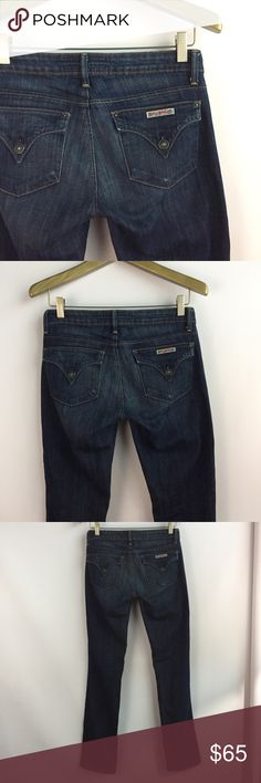 HUDSON Carly Straight Skinny Flap Pocket Jean \ 26 HUDSON Carly Jeans Size 26 Medium/Dark wash Flap pocket Gently preowned with no major signs of wear  14.75 inches across waist 7.25 inch rise 33.5 inch inseam 7 inch leg opening Hudson Jeans Jeans Straight Leg