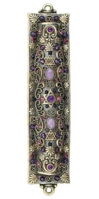 Decorative Michal Golan Mezuzah With Purple Crystals Cultura Judaica, Arte Judaica, Jewish History, Jewish Art, Religions Du Monde, Jewish Mezuzah, Jewish Customs, Messianic Judaism, Menorah