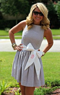 seersucker dress with a monogrammed bow