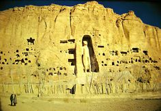 One of the two giant Buddha statues in Bamiyan, Afghanistan before their barbaric destruction in 2001 by the talebans