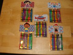 What a cute item to add to your childs favor bags to say thanks for coming to my party! Each bag comes with 8 assorted crayons. Bags will be packed and ready to use. The price is per bag ($1.75 each)  Please leave a message as to which character(s) you would like when ordering. All available characters are pictured above. Characters will be pop dotted onto the topper  Front side has the character on it, the back side says Thank You. (see photo above). Topper will coordinate with the…