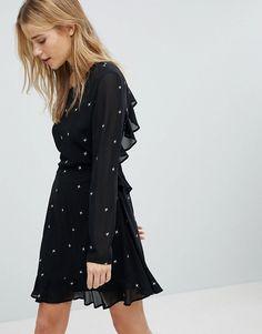 Honey Punch | Honey Punch Long Sleeve Tea Dress With Ruffle Trim In Star Print