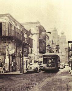 New Orleans 1942.  Bienville & Bourbon St.  Streetcar Named Desire.