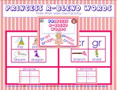 Princess r- blend Words free PDF from Wise Owl Factory