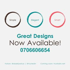 Here we start again. So you can get elegant designs just by contacting me directly here. I have taken my time to get everything set. Let's start by using Facebook or Call: 0706606654  Website is under construction: trustedin.net #Trustedin