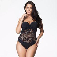 PLUS Size 2016 Fashion Sexy Lace Crochet Brazilian Bathing Suit L-7XL
