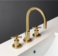 """RH's Sutton Cross-Handle 8"""" Widespread Faucet Set:Sleek lines and a modern sensibility define our solid brass collection for the bath."""