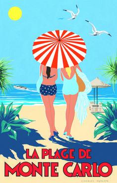 ART DECO STYLE TRAVEL POSTER---La Plage de Monte Carlo. Artist: Charles Avalon #art_deco #vintage_posters
