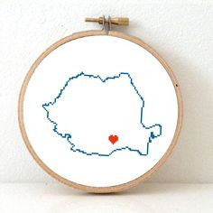 Romania map modern cross stitch pattern. Romania with Bucharest. Home is where the heart is. Bucharest map. Ancestry gift.