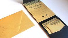 Deco Leaf 1 / Pocket Fold Wedding Invitations Set / Invitation, Reception, RSVP Card / Art Deco Great Gatsby / Black & Metallic Gold / 5x7 on Etsy, $7.00
