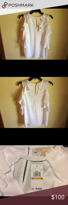 🎄❄️MICHAEL KORS ❄️🎄Top sz Small NWT Beautiful white sleeveless top with ruffles around the sleeves and down the front , buttons at the back of the neck would make a great Christmas gift  🎁 #1108 MICHAEL Michael Kors Tops Blouses