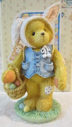 "Enesco Cherished Teddies ""Boy Bear With Bunny Ears Figurine"" Peter Original Box"