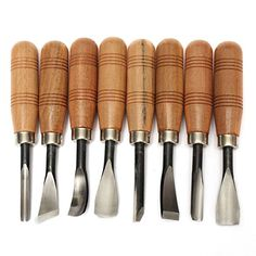 Spoon V Parting Slew 12pc Wood Carving Chisel Gouge Set Brass