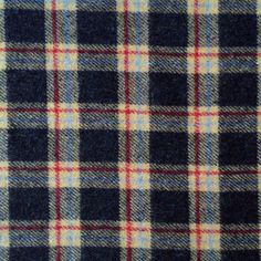 Italian Check Woollens - Navy and Red at The Village Haberdashery