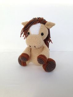 Crochet Horse Stuffed Animal in Tan and Brown by YouHadMeAtCrochet