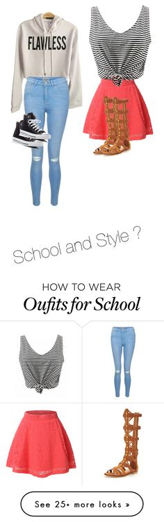 """""""School and Style"""" by babesjulie on Polyvore featuring LE3NO, New Look, Converse, KG Kurt Geiger and Denimondenim"""
