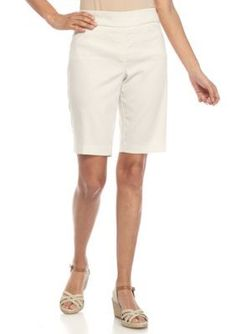 Kim Rogers Light Beige Petite Striped Bermuda Shorts