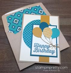 Perfect Pairings stamp set and the Balloon Bouquet Punch are at the heart of this birthday card created by Mary Fish, Stampin' Up! Demonstrator.  1000+ StampinUp & SUO card ideas.  Read more http://stampinpretty.com/2016/03/happy-birthday-balloon-bouquet.html