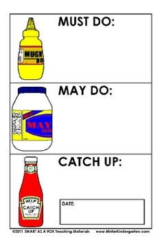 MUST-DO MUSTARD, MAY-DO MAYONNAISE, CATCH-UP KETCHUP MINI POSTERS - TeachersPayTeachers.com