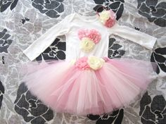 Pink and white ivory Tutu onesie with headband. Short sleeves or long sleeves. First birthday outfit.