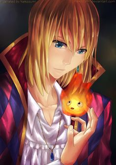 Howl and Calcifer, from Hauru no Ugoku Shiro (a.k.a. Howl's Moving Castle)