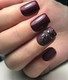 Pin by Lisa Firle on Nageldesign - Nail Art - Nagellack - Nail Polish - Nailart - Nails in 2019 Burgundy Matte Nails, Burgundy Nail Designs, Fall Nail Designs, Acrylic Nail Designs, Matte Black, Classy Nail Designs, Fall Gel Nails, Fun Nails, Autumn Nails
