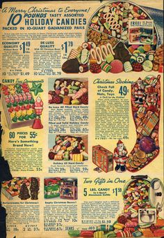 Vintage Christmas Hard Candy - This is a colorful and enticing collection of Christmas Catalog images from 1939 to 1979 featuring that classic Christmas Hard Candy and Ribbon Candy. Vintage Christmas Images, Old Christmas, Old Fashioned Christmas, Retro Christmas, Vintage Holiday, Christmas Holidays, Christmas Mantles, Xmas, Victorian Christmas