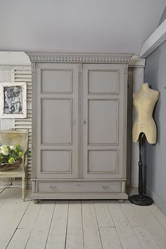 #letstrove This stunning Dutch wardrobe will make a statement in any bedroom! We love its handsome looks, painted in Little Greene Lead Colour, lightly distressed and aged with dark wax. https://www.thetreasuretrove.co.uk/bedroom-storage/6-panel-dutch-shabby-chic-wardrobe #freedelivery #rustic #shabbychic #vintage #dutch #grey #homeinteriors