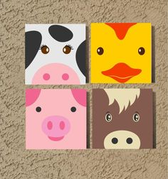 Custom Painted Nursery Canvas Farm Animals Wall Art, Hand Painted Canvas Sign for Playroom Decor, Handmade Gift for Baby or Kids Bedroom Canvas Painting Quotes, Small Canvas Paintings, Easy Canvas Painting, Cute Paintings, Nursery Paintings, Summer Painting, Painted Canvas Quotes, Acrylic Painting For Kids, Trippy Painting