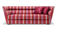Michael Berman Limited Simone Sofa with bench seat, channeled back, and flared arms
