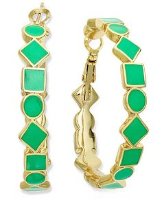 kate spade new york Earrings, Gold-Tone and Beryl Green Cubetti Hoop Earrings - Fashion Jewelry - Jewelry & Watches - Macy's