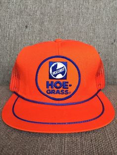 1e66c16d1be40 Details about Vtg Hoechst Hoe Grass Orange Trucker Hat Mesh Snap Back 80 s  Weed Killer Farming