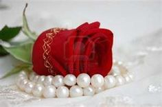 pearls with rose