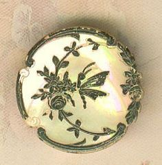 Beautiful Victorian Gilded Pearl Button w/Butterfly & Flower
