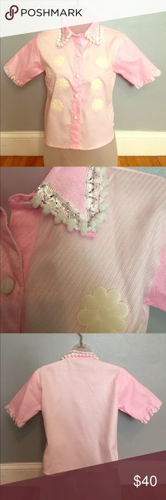 Pom Pom Collared Pink Daisy Shirt NWOT So cute!! Imported from Thailand fairy godmother Tops Tees - Long Sleeve