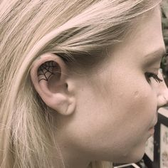 Spider web tattoo on the right ear Cage Tattoos, Belly Tattoos, Foot Tattoos, Forearm Tattoos, Body Art Tattoos, Inner Ear Tattoo, Spider Web Tattoo, Spooky Tattoos, Small Hand Tattoos
