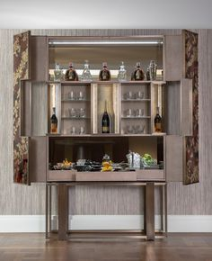 Luxury bespoke furniture design of drinks cabinet in Belgravia home. It features shagreen leather details, bronze mirror and Venetian glass. Bespoke Furniture, Bar Furniture, Cabinet Furniture, Luxury Furniture, Furniture Design, Drink Bar, Luxury Bar, Luxury Decor, Cabinet Decor