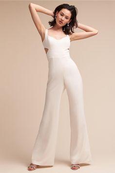 BHLDN Daisy Jumpsuit Ivory  in  Bride | BHLDN