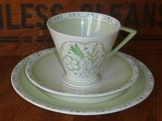 Rare Shelley Art Deco Green Banded & Flowers Tea Cup Saucer and Tea Plate Trio