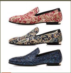Mens Fashion New Trend Slip on Soft Leather Sequins Loafer Printed Flat Shoes | eBay