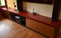 Makers Lane :: Red Concrete Polished Benchtop Custom Made, Bespoke Furniture made in Australia.