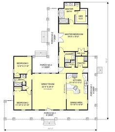 Southern Style House Plan - 3 Beds 2.5 Baths 2123 Sq/Ft Plan #44-121 Main Floor Plan - Houseplans.com