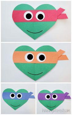 Valentines Day Ninja Turtle Craft for Kids ~ Heart Shaped Teenage Mutant Ninja Turtles day crafts for kids Valentines Bricolage, Kinder Valentines, Valentine Crafts For Kids, Valentines For Kids, Valentine Cards, Valentine's Day Crafts For Kids, Daycare Crafts, Craft Activities For Kids, Preschool Crafts