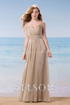 Soft chiffon bridesmaid dress with beaded capped sleeves. Perfect for your wedding. Bridal Boutique at Frox of Falkirk. Scotland, UK. www.froxoffalkirkbridal.com