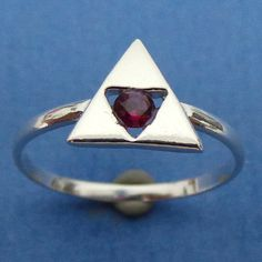 Zelda Triforce Engagement Ring - Triangles Charm Ring - Geek Nerd - Gamer