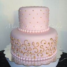 Pink and Gold Baby Shower Cake - by Mari's Boutique Cakes Baby Shower Snacks, Baby Shower Party Games, Baby Shower Cakes, Baby Shower Gifts, Pink Birthday Cakes, 18th Birthday Cake, White Baby Showers, Baby Shower Princess, Baby Shower Decorations