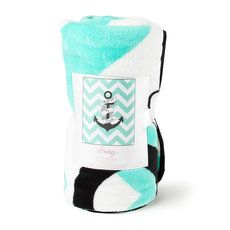 I Refuse to Sink Anchor and Mint Chevron Stripe Throw Blanket from Icing