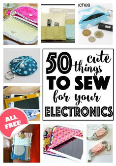 Free sewing tutorials and patterns for using, storing, and organizing your electronic devices! Easy Sewing Projects, Sewing Projects For Beginners, Sewing Hacks, Sewing Tutorials, Sewing Crafts, Sewing Ideas, Sewing Tips, Free Tutorials, Fabric Crafts